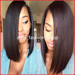Wholesale Peruvian Virgin Silky Natural Curly - Top Quality Peruvian Unprocessed short human hairwig 100%virgin human hair u part bob wigs For Black Women Silky Straight
