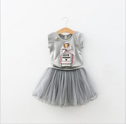 Wholesale Girls Suit Skirt Bow - 2016 casual suit kids summer clothes sequin bow perfume bottle pattern grey t shirt and ball gown skirt children set girl 2-10 years