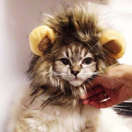 Wholesale Cosplay Wigs Accessories - Wholesale-Lovely Fancy Pet Fancy Costume Mane Hair Cat Hat Wig Cosplay Lion Stuffed Hair Peg wigs
