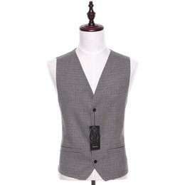 Wholesale Fabric Waistcoats - New Plaid Fabrics Men Suit Vest Sleeveless Light Gray Vintage Fashion Spring Autumn Waistcoat Four Button Two Pocket CUSTOM MADE