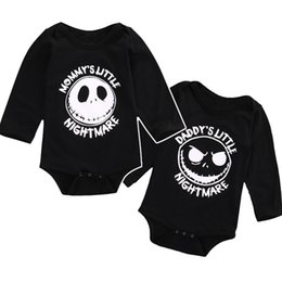 Wholesale Baby Clothes Skulls - halloween skull baby romepr newborn clothes letter mommy's daddy's little nightmare boy girl jumpsuit romper high quality infant romper
