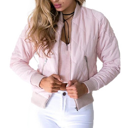 Wholesale Pocket Pads - Women argyle bomber jacket solid color padded long sleeve flight jackets casual coats ladies punk outwear top capa