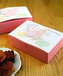 Wholesale Woods Cake - Pink butterfly Mooncake box Egg-Yolk pastry box moon cake box wholesale ,cookies box 3 sizes 10pcs lot free shipping