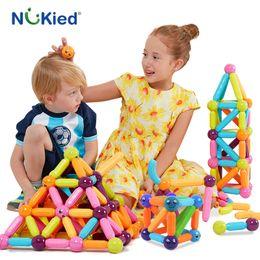 Wholesale Toy Magnets Building - NUKied 42PCS Kids Bars & Metal Balls Magnet Toy Magnetic Building Block Construction Toys DIY Enlighten Bricks Toys With Kits