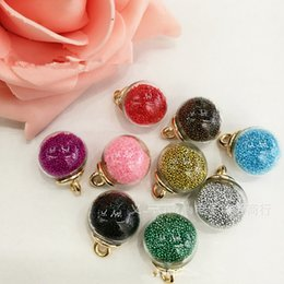 Wholesale Glass Bead Charms Wholesale - Colorful Crystal Seed Beads Decorated 16MM Round Glass Ball Jewelry Pendant Charms Fit for Necklace Keyring Bracelet DIY
