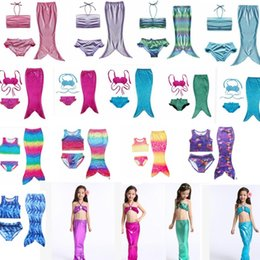 Wholesale Mermaid Bathing Suit Kids - Girls Mermaid Tail Swimsuits Kids Mermaid Bikini Girls Swimsuits Kids Swimwear Mermaid Bathing Suits Swimming Costume 24 design KKA2317