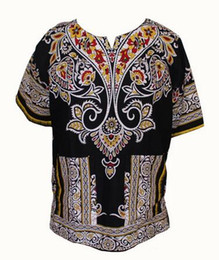 Wholesale Blue T Shirts For Men - Fashion Design 100% Cotton New Arrival African Print Dashiki Clothing Short Sleeve Dashiki T-shirt For Men