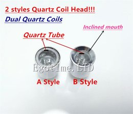 Wholesale Glass Tube Vases - Dual Quartz rod coil wax dry herb coil Quartz Tube Coil for cannon vase bowling glass globe atomizer wax dry herb Glass skull Atomizer Ecigs