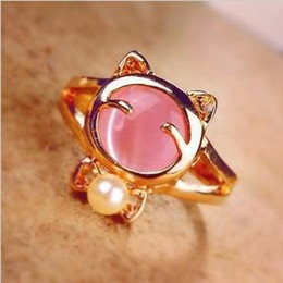 Wholesale 18k White Gold Pink - Cute Opal Pearl Lovely Cat Ring Fashion Jewelry Ring for Women Girl Ladies Cat Finger Ring Golden Plated Rings White Pink Jewellry Accessory