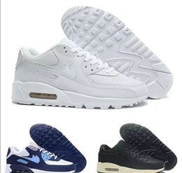 Wholesale Navy Surface - Wholesale Mens Sneakers Shoes classic 90 Men and women Running Shoes Black Sports Trainer Air Cushion Surface Breathable Sports Shoes 36-45