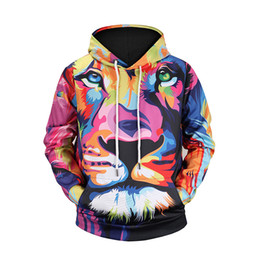Wholesale Funny Ties - Fashion lion hooded shirts men women printed 3d hoodies Casual graphic hoodie funny Sweat shirt tie-dye Sweatshirt tops M-3XL BL-145