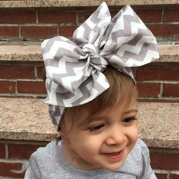 Wholesale Wholesale Chevron Tops - Cute headband for girls ,Grey White chevron zig zag baby hair bows ,Big Bow Top Knot Turban Baby girls haedband