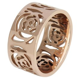 Wholesale Beautiful Chinese Women - Chinese camelia Rose gold ring with hueco flower design,fashion and beautiful for woman valentine's day gift for novia
