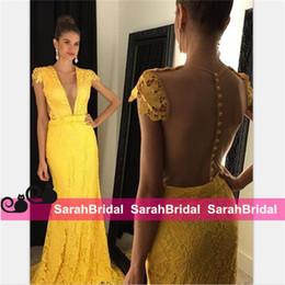 robe chic Rabatt Chic Yellow Lace Prom Kleider 2019 mit Applikationen Sweep Zug Durchsichtig Vestidos Lange Formale Frauen Abendkleider für Robe De Soiree Sale