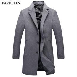 Wholesale mens hooded pea coats - Wholesale- Gray Wool Trench Coat Men 2017 Winter Men's Long Trench Coats Single Breasted Mens Windbreaker Pea Coat Overcoat Manteau Homme
