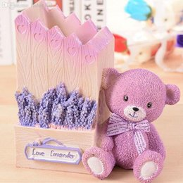 Wholesale Kawaii Desk - Wholesale-Puprle Lavender Little Bear Resin Pencil Holder Kawaii School Stationery Office Accessories Pen Stand Desk Ornaments