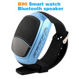 Wholesale Russian Speakers - 2017 B90 Bluetooth smartwatch audio portable TF sport Bluetooth speaker LED screen anti-lost camera FM Mobile phone call smart watches Z60A1