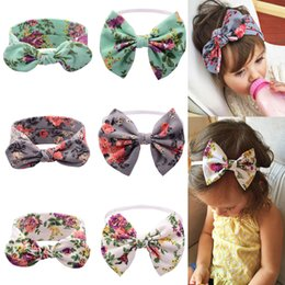 Wholesale Elastic Knit Hair Headbands - Baby Girls Toddler Knitted Cotton Bunny Printed Headbands Infant Fine band Floral Print Bow Elastic Headwear Childrens Hair Accessories