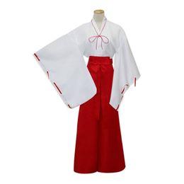 Wholesale Long Anime Wigs - Inuyasha Kikyou Cosplay Dress Costumes Kikyo Wigs Women Japanese Kimono Set Black Long Hair