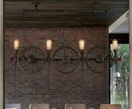 Wholesale Wheel Barring - American creative Loft industrial pendant light country design iron wheel pendant light vintage restaurant bar decoration LED pendant light
