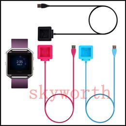 Relógio inteligente azul on-line-Cabo de carregamento Adaptador de Carregador de Carregador de Cabo De Base Do Berço Fio Para Fitbit Blaze Relógio Inteligente Preto azul Rosa