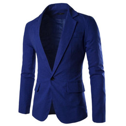 Wholesale Men S Linen Dress Suit - Wholesale- Linen Blazer Jacket Men Long Sleeve Single Button Fashion Slim Fit Dress Formal Blazers Male Coats Solid Tuxedo Suit Jacket Z20