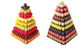 Wholesale Macaron Tower - 2016 wedding cake stand Macaron Tower 9 Tier Square Macaron Display Wedding Birthday Party Christmas Dessert Display black white