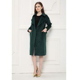 Wholesale Over Coat Jacket - 2017 Women Winter Autumn Jacket Slim Suit Collar Long Style Solid Deep Green Woolen Coat Female Elegant High-end X-long Over