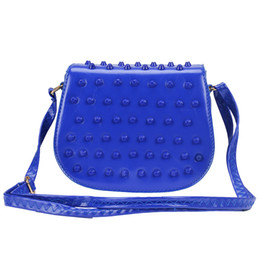 Wholesale Handbag Candy Color Rivets - Wholesale-2015 Hot style! fashion cute women small messenger bag PU leather candy color shoulder handbag designer mini girls Rivet bag