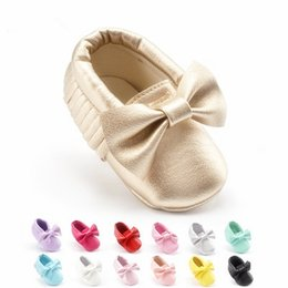 Wholesale Fringe Wholesale - Baby moccasins soft sole moccs PU leather prewalker booties toddlers babies infants fringe cow leather moccasin shoes maccasions 43xt