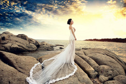 Wholesale Korean Brides Dresses - Korean version vintage bride beach wedding dresses Dress Long Tailing Large size fashion Fish tail wedding dress