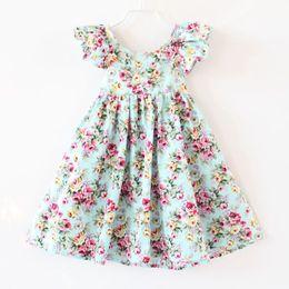 Wholesale Wholesale Dresses Cotton Solid - Floral Print Dress for Girls 2016 New Flower Ruffle Fly Sleeve Kids Princess Dress Summer Backless Suspender Children Party Sundress