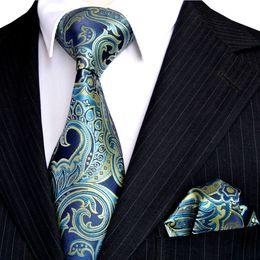 Wholesale Branded Handkerchiefs - E7 Mens Necktie Handkerchief Floral Navy Blue Azure Yellow Ties Set 100% Silk Exquisite Brand New Free Shipping