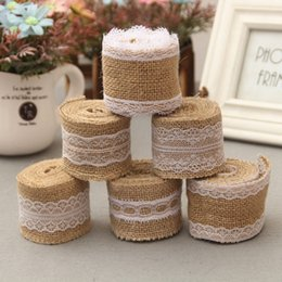 Wholesale Lace Ribbon Decorations - New Arrival 2M Jute Burlap Hessian Ribbon with Lace Trims Tape Roll Vintage Rustic Mariage Wedding Cake Topper Ribbon Crafts JM0238