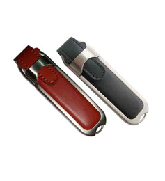 Wholesale Leather Usb Flash Drive 32gb - Leather USB Flash Drive With Metal Safety Frame with Your Logo 512mb 1gb 2gb 4gb 8gb 16gb 32gb 64gb