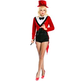 Wholesale Magician Costume Tuxedo - Sexy Red Magician Costume for Women Halloween Animal Trainer Tailcoat Carnival Fantasy Cosplay Long Sleeve Tuxedo Mage Outfits A158635