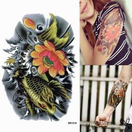 Wholesale Stickers For Tattoos - Best Price Sexy Removable Waterproof Arm Body Art Temporary Gold Brocade Carp Tattoo Sticker For Man Or Girls 14.8x21cm