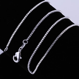 Wholesale Garnet Mothers Day Jewelry - Fashion Jewelry Silver Chain 925 Necklace Box Chain for Women 1mm 16 18 20 22 24 inch