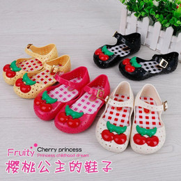 Wholesale Hole Jelly Shoes - cherry Melissa Children's Sandals jelly princess Hole hole shoes PVC Soft bottom shoes 23-28 free shipping C739