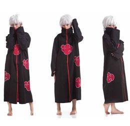 Wholesale Naruto Akatsuki Cosplay Cloak - HNew Fashion Unisex Cosplay Costumes Japan Anime Naruto Itachi Akatsuki Cosplay Robes Cloak Party Costumes