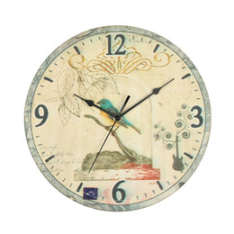 Wholesale Rustic Wall Clocks - Wholesale- Bird Vintage Rustic Wall Clock Shabby Chic Home Office Coffeeshop Bar Decoration Unique Gift Craft