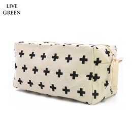 Wholesale Nature Cross - Free Shipping ,Swiss Cross Large Capacity Nature Cotton Canvas Cosmetic Bag Cotton Travel Toiletry Bags Cotton Makeup Zipper Bag