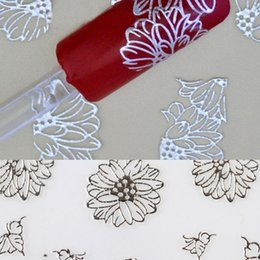 Wholesale 3d Nails For Sale - Wholesale-Hot Sale 3d Silver Nail Art Stickers Decals Flower Stamping For Nail Decoration Tools High Quality Wholesale NA-0028-SV