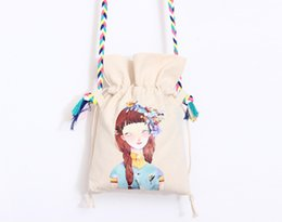 Wholesale Kids White Canvas Shoulder Bags - Girls Eco Canvas organizer drawstring wrapping shoulder Bags shopping phone candy hand bag for women kids DIY crafts Chirtmas gift bags