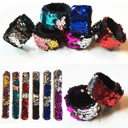 Wholesale Jewelry Mermaid Ring - Hot Fashion Mixed Color Flexible Mermaid Sequins Slap Snap Bracelet Wristband Kid Boys Girls Jewelry Gift Free Shipping