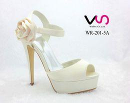 Wholesale Super High Platform Pumps - Side Rose Bow Ivory Color Super High Heel Peep Open Shoe Toe With Thick Platform Dyeable Satin Dyeable Women Bridal Wedding Shoes