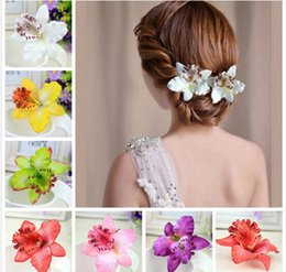 Wholesale Asian Bridals - Multi Color Beautiful Bohemia Wedding Bridals Orchid Peony Flowers Hair Clips Hairpins for Women Hair Ornaments DHF706