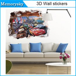 Wholesale Car Design Wall For Kids - movie cars wall stickers kid bed play room decoration diy 3d cartoon film fantastic window home decal nursery kids mural art 010260
