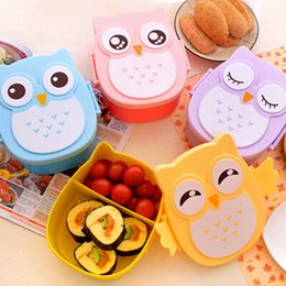 Wholesale Korean Cupping Wholesale - 2016 New 2 Layer Cartoon Owl Lunchbox Bento Lunch Box Food Fruit Storage Container Plastic Lunch box Microwave Cutlery Set Children Gift
