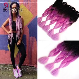 Wholesale Synthetic Remy - two tone ombre purple braiding hair24''beautiful expression braiding hair 100g pce ombre jumbo braid synthetic hair extensions